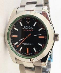 Replica horloge Rolex Milgauss 01116400GV (40mm) Zwarte wijzerplaat/automaat/oyster band/roestvrije staal