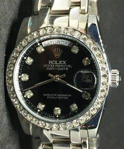 Replica horloge Rolex Daydate 03 (37mm) Zwart Diamonds