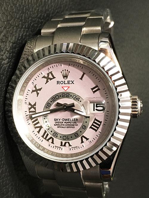 Replica horloge Rolex Sky dweller 01326939 (42mm) Grijze wijzerplaat/Roestvrije staal