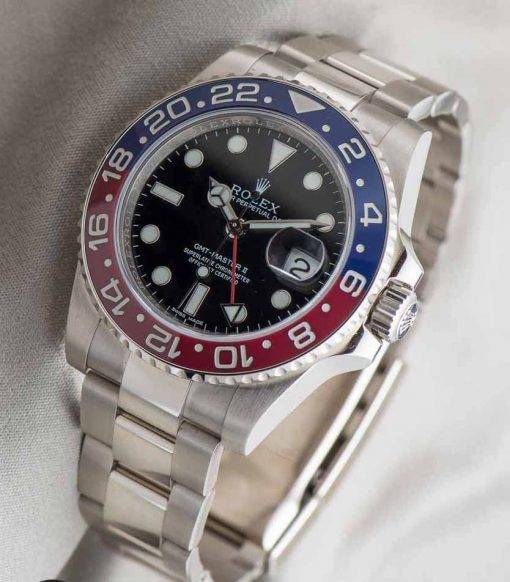 Replica horloge Rolex Gmtmaster ll 01(40mm) 116719BLRO Pepsi rood/blauw/ Oyster band