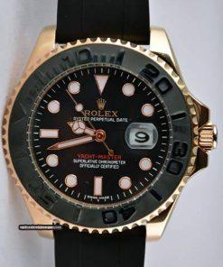 Replica horloge Rolex Yacht master 03 (40mm) 116655 Goud/rubbere band/automaat/zwarte wijzerplaat