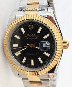 Replica horloge Rolex Datejust 25 126333 41mm zwarte wijzerplaat Gold Oyster band