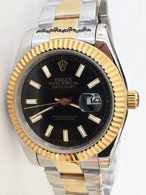 Replica horloge Rolex Datejust 25 126333 40mm zwarte wijzerplaat Gold Oyster band