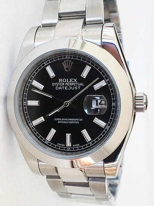 Replica horloge Rolex Datejust 06 126300 41mm zwarte wijzerplaat, Oyster band/Automatic