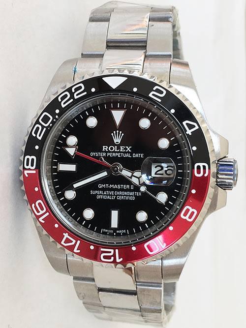 Replica horloge Rolex Gmtmaster ll 04 (40mm) 16710 Coca Cola Zwart/rood Oyster Band
