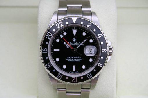 Replica horloge Rolex Gmt-master ll 05 (40mm) 16710 zwart Oyster band-Automatic-