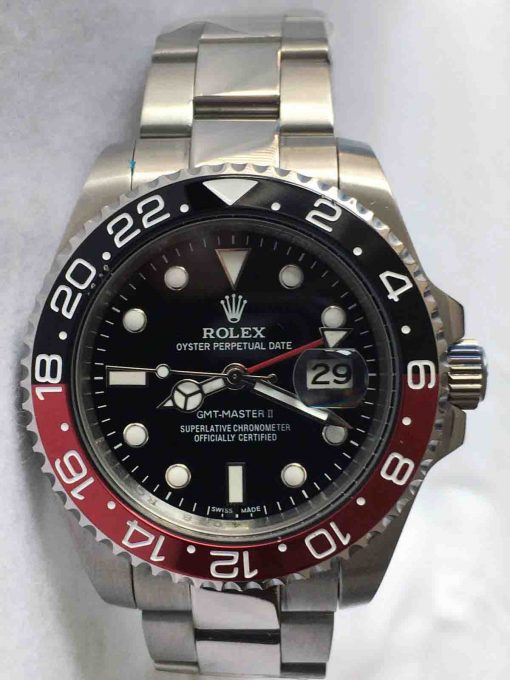 Replica horloge Rolex Gmtmaster ll 04 (40mm) 116710 Coke Zwart/rood Oyster Band-Automatic-