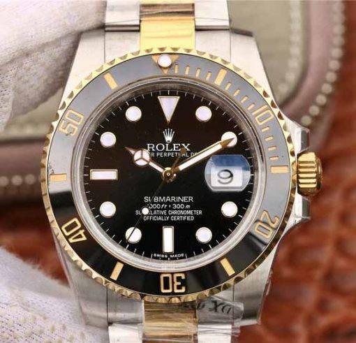"""Replica horloge Rolex Submariner 05 (40mm) 116613LN """"Zwart"""" Bi-Color/automatische uurwerk"""