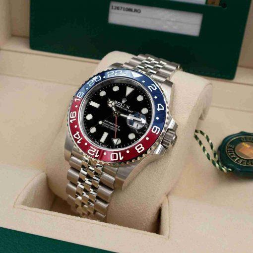 Replica horloge Rolex Gmt-Master ll 08 (40mm) 126710BLRO Pepsi Cola Jubilee band-Automatic Blauw/rood bezel