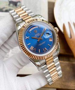 Replica horloge Rolex Day-Date 07 (40mm) 228239 Blauwe wijzerplaat (President band) Automatic Bi-color
