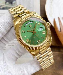 Replica horloge Rolex Day-Date 08 (40mm) 228235 Olijfgroene wijzerplaat (President band) Automatic