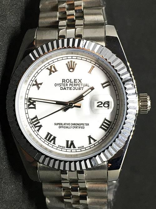 Replica horloge Rolex Datejust 32 (40mm) (Jubilee band) Witte wijzerplaat (Romeinse Cijfers)