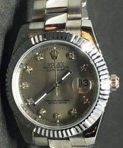 Replica horloge Rolex Datejust 33 (40mm) (Jubilee band) Grijze wijzerplaat (Diamanten)