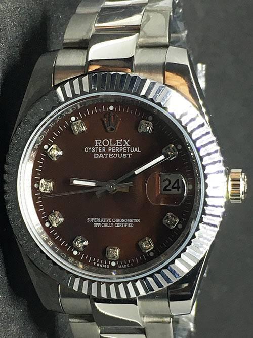 Replica horloge Rolex Datejust 34 (40mm) (Jubilee band) Bruine wijzerplaat (Diamanten)