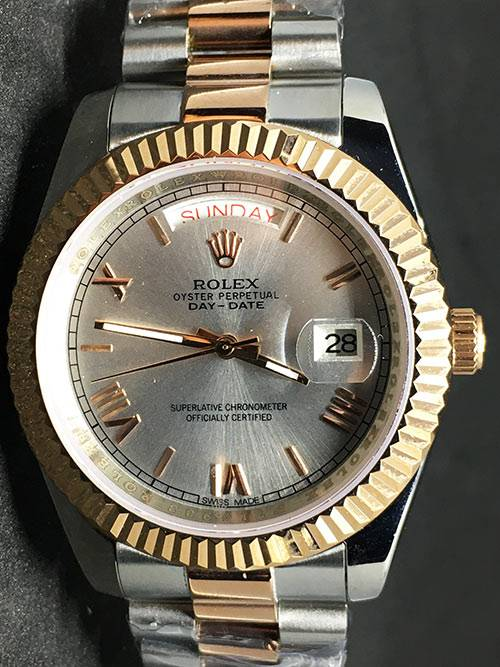 Replica horloges Rolex Day-Date 02 (40mm) President band/ Bi-color/Grijze wijzerplaat/romeinse cijfers/gold/automaat