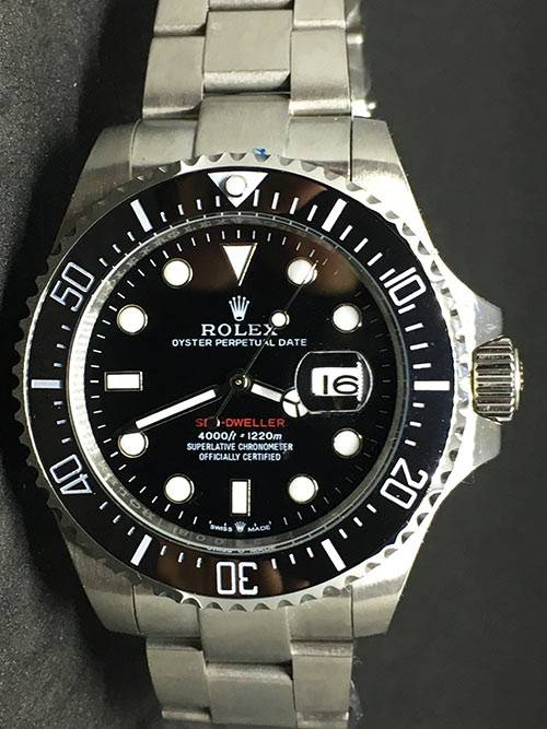 Replica horloge Rolex Sea Dweller 04 (43mm) 126660 Zwarte wijzerplaat (Datumloep)