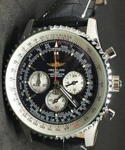Replica horloge Breitling Navitimer 02 (44mm) Zwarte wijzerplaat en zwarte leren band