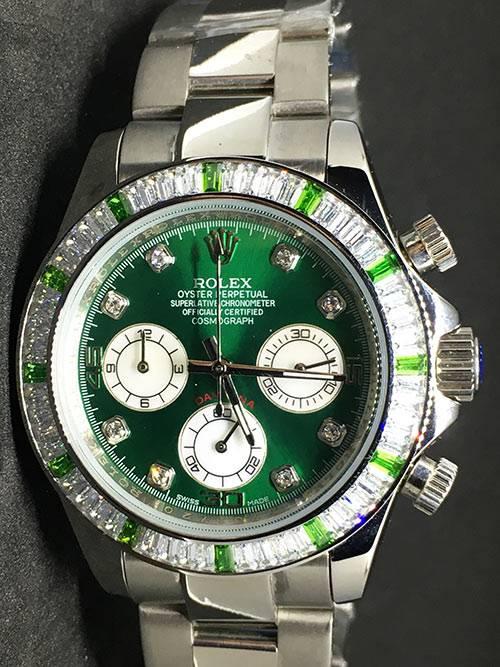 Replica horloge Rolex Daytona 05 cosmograph (40mm) Groen (Diamanten)