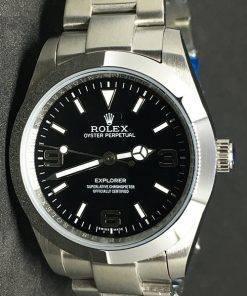 Replica horloge Rolex Explorer 01 (39mm) 214270 Zwarte wijzerplaat (staal)