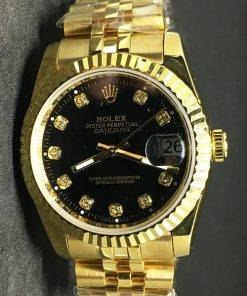 Replica horloge Rolex Datejust 35 (36mm) (Jubilee band) Zwarte wijzerplaat (Diamanten) Gold