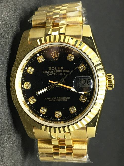 Replica horloge Rolex Datejust 35 (36mm) (Jubilee band) Zwarte wijzerplaat (Diamanten) Gold