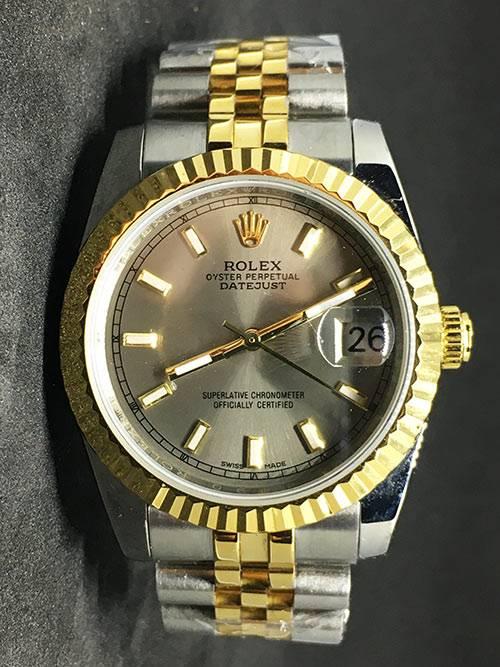 Replica horloge Rolex Datejust 37 (36mm) (Jubilee band) Goude wijzerplaat Bi-color