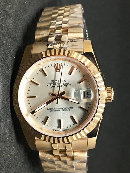 Replica horloge Rolex Datejust 38 (36mm) (Jubilee band) Witte wijzerplaat Gold
