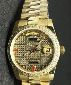 Replica horloge Rolex Datejust 39 (36mm) (President band) Gold (Full Diamonds)
