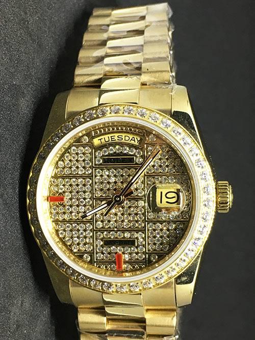 Replica horloge Rolex Datejust 39 (36mm) (President band) Gold (Full Diamonds)