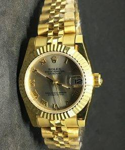 Replica horloge Rolex Datejust Dames 01 (28mm) Goude wijzerplaat/jubilee band/automaat/romeinse cijfers