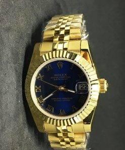 Replica horloge Rolex Datejust Dames 02 (28mm) Blauwe wijzerplaat(Jubilee band) Gold/romeinse cijfers