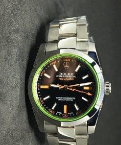 Replica horloge Rolex Milgauss Dames 01 (36mm) Zwarte wijzerplaat(Oyster band) Staal