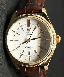 Replica horloge Rolex Cellini 01 (40mm) Witte Wijzerplaat (Leren band) Gold