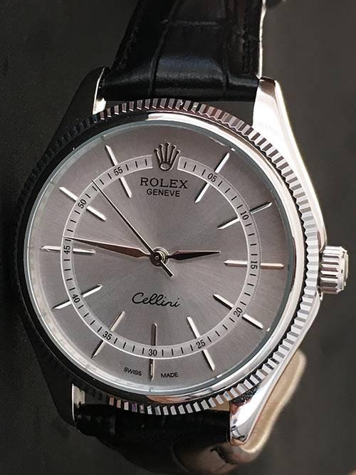 Replica horloge Rolex Cellini 02 (40mm) Grijze Wijzerplaat (Leren band) Staal