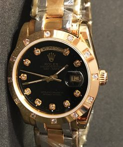 Replica horloge Rolex Daydate 04 (37mm) Gold Diamonds (Zwart)