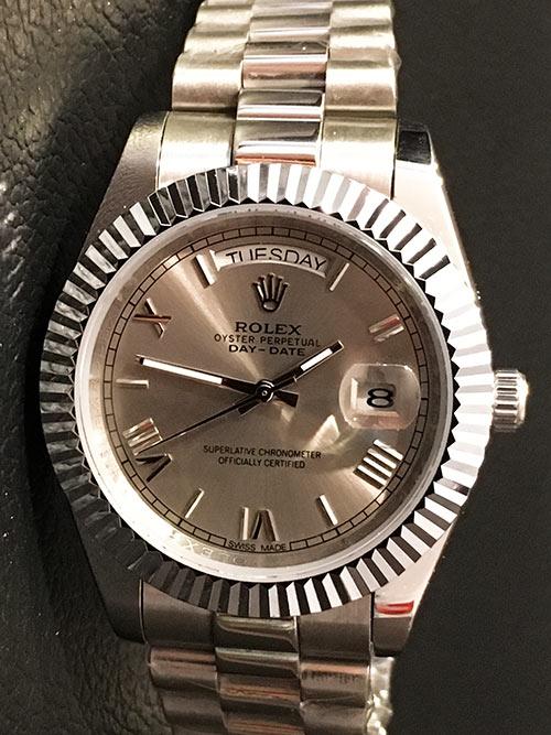 Replica horloge Rolex Day-Date 06 (40mm) Grijze wijzerplaat (President band)