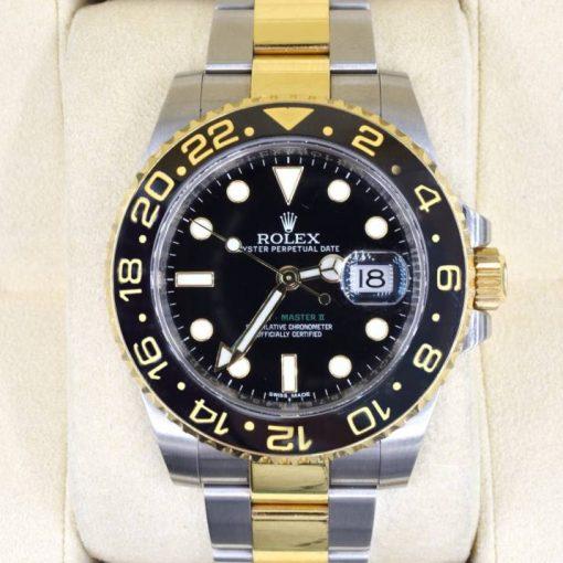 Replica horloge Rolex Gmt-Master ll 09 (40mm) Yellow gold 116713LN Bi-color zwarte wijzerplaat -Automatic-Top kwaliteit!
