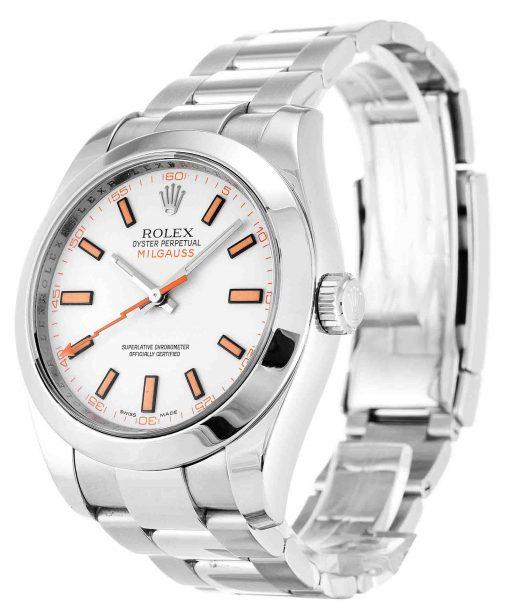 Replica horloge Rolex Milgauss 02 116400 (40mm) Witte wijzerplaat en groen saffierglas-automatic-Top kwaliteit!