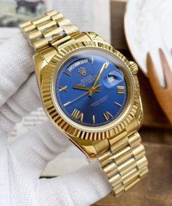 Replica horloge Rolex Day-Date 18 (40mm) 228238 Yellow gold )(Blauwe wijzerplaat) Automatic/ president band