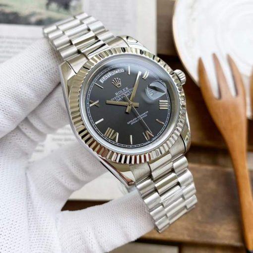 Replica horloge Rolex Day-Date 20 (40mm) 228239 President band (Zwarte wijzerplaat) Automatic