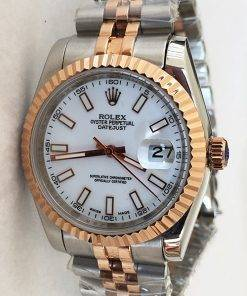 Replica horloge Rolex Datejust 40 (36mm) (Jubilee band) Bi-color witte wijzerplaat