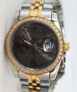 Replica horloge Rolex Datejust 40 (36mm) (Jubilee band) Bi-color (Bloemetjes wijzerplaat)