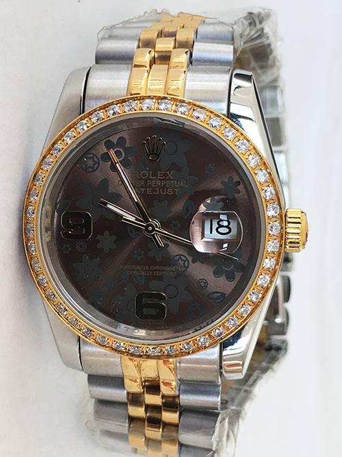 Replica horloge Rolex Datejust 40 (36mm) (Jubilee band) Bi-color (Bloemetjes wijzerplaat)
