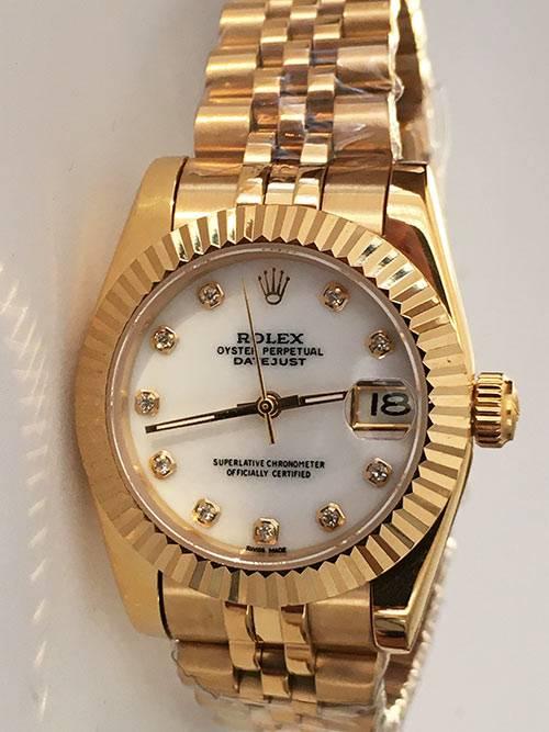 Replica horloge Rolex Datejust Dames 04 (33mm) Witte wijzerplaat