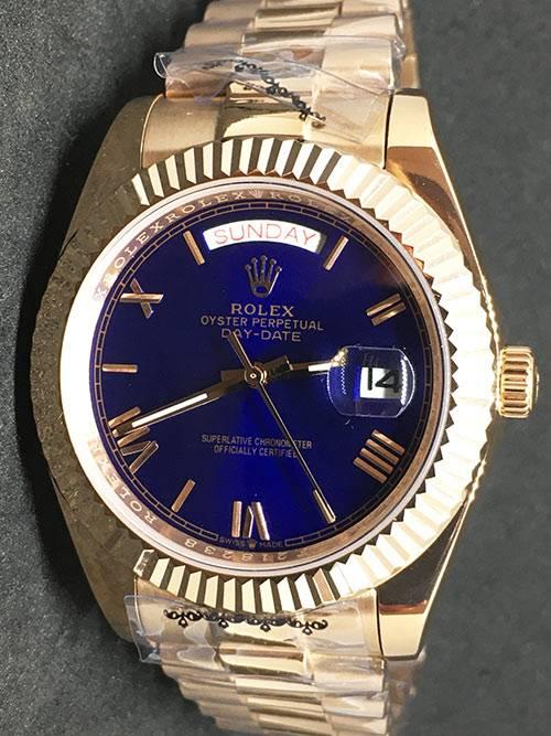 Replica horloge Rolex Day-Date 18 (40mm) Yellow gold )(Blauwe wijzerplaat)