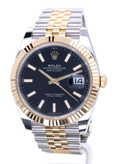 Replica horloge Rolex Datejust ll 18 (41 mm) 126333 Zwarte wijzerplaat Bi-color Jubilee band/ Automatic
