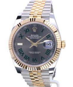 Replica horloge Rolex Datejust ll 17 (41 mm) 126333 Grijze wijzerplaat Wimbledon Jubilee band Automatic/ Romeinse cijfers/Roman/ Bi-color