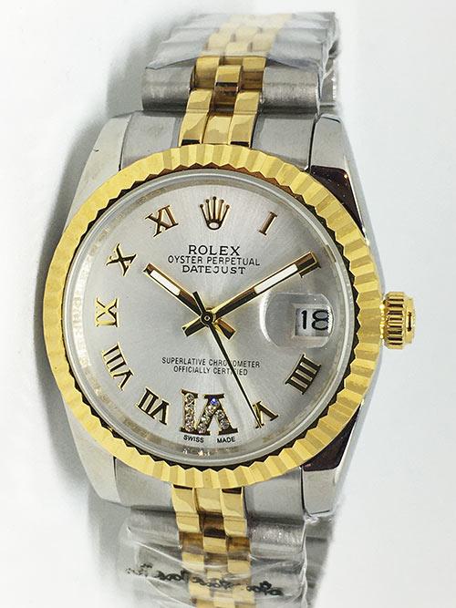 Replica horloge Rolex Datejust 41 (36mm) (Jubilee band) Bi-color Grijze wijzerplaat