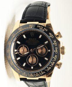 Replica horloge Rolex Daytona 08 cosmograph (40mm) (Goud)Leren band
