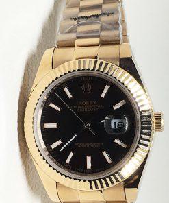 Replica horloge Rolex Datejust 18 (40mm) Zwarte wijzerplaat (Goud) President band Automatic